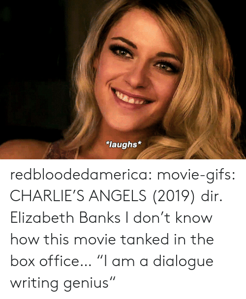 "Genius: laughs* redbloodedamerica:  movie-gifs: CHARLIE'S ANGELS (2019) dir. Elizabeth Banks I don't know how this movie tanked in the box office…  ""I am a dialogue writing genius"""