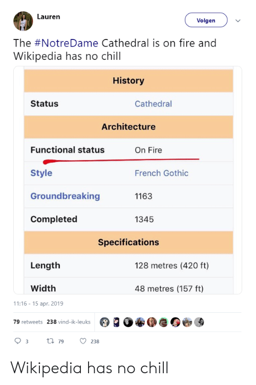 No chill: Lauren  Volgen  The #NotreDame Cathedral is on fire and  Wikipedia has no chill  History  Status  Cathedral  Architecture  Functional status  On Fire  Style  Groundbreaking  Completed  French Gothic  1163  1345  Specifications  Length  128 metres (420 ft)  Width  48 metres (157 ft)  1:16-15 apr. 2019  79 retweets  238 vind-ik-leuks Wikipedia has no chill