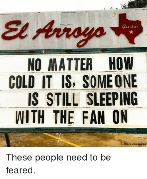 Dank, Twitter, and Sleeping: laustiu  NO MATTER HOW  COLD IT IS, SOMEONE  IS STILL SLEEPING  WITH THE FAN ON  Twitter/ashareaotions These people need to be feared.