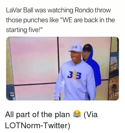 """Basketball, Gif, and Nba: LaVar Ball was watching Rondo throw  those punches like""""WE are back in the  starting five!""""  GIF All part of the plan 😂 (Via LOTNorm-Twitter)"""