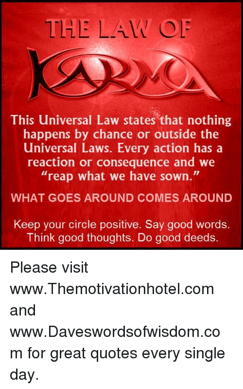 Law This Universal Law States That Nothing Happens By Chance Or