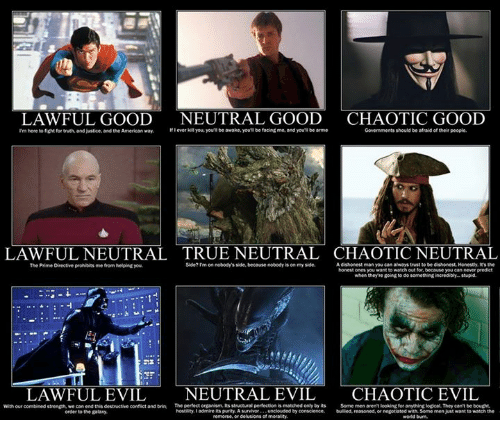 the american way: LAWFUL GOOD  NEUTRAL GOOD  CHAOTIC GOOD  lever kill you, you be awake, youn be facing me, and youll be anme  Governments should be afraid of their people.  rm here to fight for truth, and Justice and the American way.  LAWFULNEUTRAL TRUE NEUTRAL CHAOTIC TRAL  Side?rm on nobody'sside, because nobody is on my side.  A dishonest man you can always trust to be dishonest Honestly. the  The Prime Directive prohibits  me from helping you  honest ones you want watch out for because you can never predict  when they re going to do something incredibly-stupid.  LAWFUL EVIL  NEUTRAL EVIL  CHAOTIC EVIL  With our combined strength, we can end this destructive confict and brin The perfect organism, Its structuralpertection is matched only by its  Some men arent looking for anything logical They can't be bought,  hostility ladmire its purity Asurvivor  bulled reasoned,  negotiated with some men just want to watch the  order to the galaxy.  remorse, or delusions of morality.  world burn.
