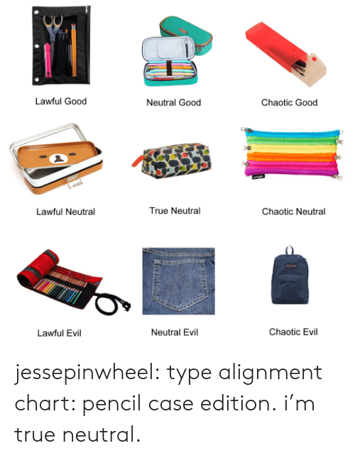 True, Tumblr, and Blog: Lawful Good  Neutral Good  Chaotic Good  True Neutral  Chaotic Neutral  Lawful Neutral  Chaotic Evil  Neutral Evil  Lawful Evil jessepinwheel: type alignment chart: pencil case edition. i'm true neutral.