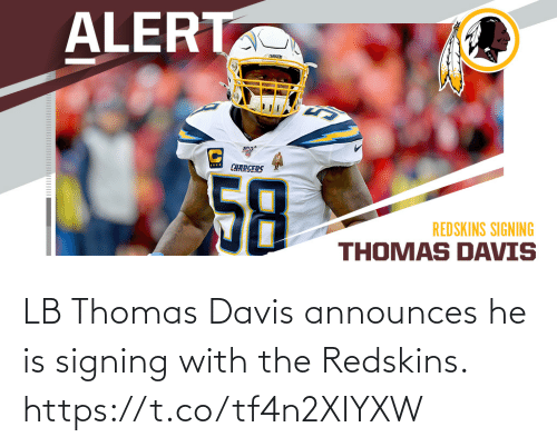 Signing: LB Thomas Davis announces he is signing with the Redskins. https://t.co/tf4n2XIYXW