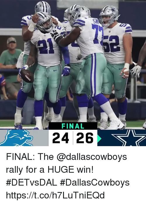 Memes, 🤖, and Rally: LE  FINAL  24 26 FINAL: The @dallascowboys rally for a HUGE win! #DETvsDAL #DallasCowboys https://t.co/h7LuTniEQd