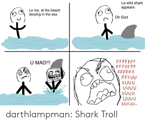 Troll: Le wild shark  appears  Le me, at the beach  derping in the sea  Oh God  FFFFFFF  FFFFF FF  U MAD!?  FFFFFF  FFFVU  VUUU  VUUU  Uvuu  VNU- darthlampman:  Shark Troll
