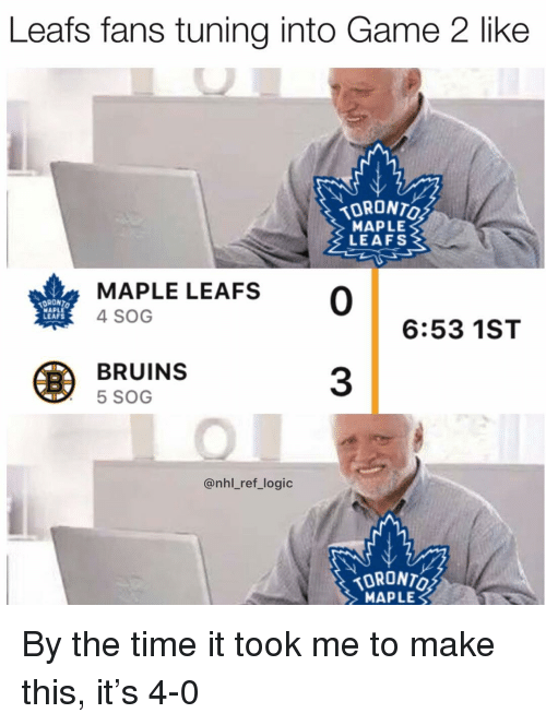 leafs: Leafs fans tuning into Game 2 like  MAPLE  LEAFS  DRONT  MAPLE  LEAFS  MAPLE LEAFS 0  4 SOG  6:53 1ST  BRUINS  5 SOG  3  @nhl_ref_logic  TORONTO  MAPLE By the time it took me to make this, it's 4-0