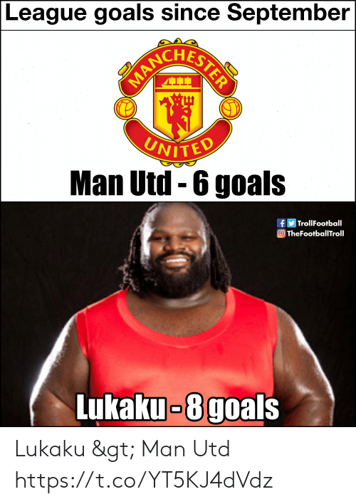 Trollfootball: League goals since September  UNITED  Man Utd-6 goals  TrollFootball  TheFootballTroll  Lukaku-8goals Lukaku > Man Utd https://t.co/YT5KJ4dVdz