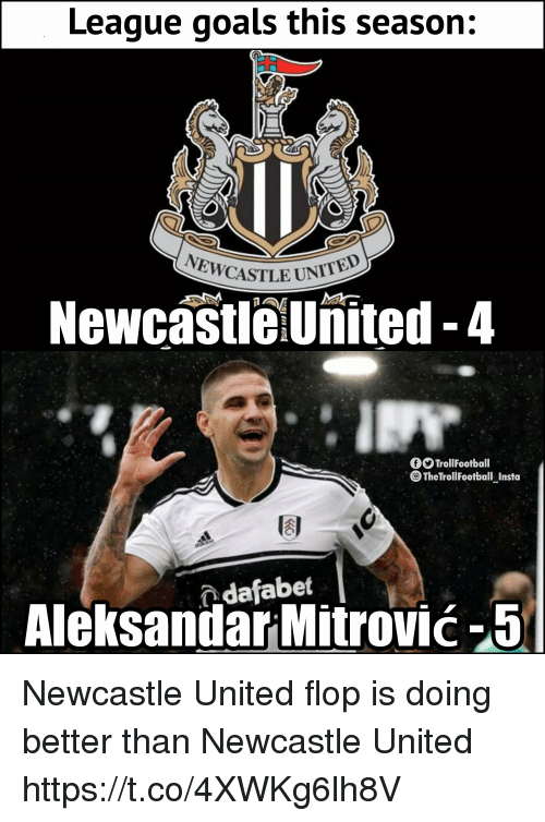 Goals, Memes, and United: League goals this season:  ASTLE UNITED  NewcastleUnited-4  fTrollFootball  The TrollFootball Insta  AleksandarMitrović-5  dafabet Newcastle United flop is doing better than Newcastle United https://t.co/4XWKg6lh8V
