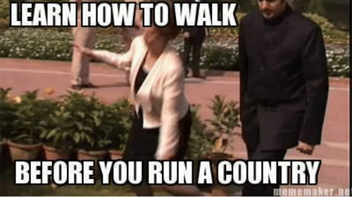 meme maker: LEARN HOW TO WALK  BEFORE YOU RUN A COUNTRY  meme maker n