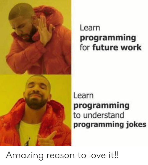 Programming: Learn  programming  for future work  Learn  programming  to understand  programming jokes Amazing reason to love it!!