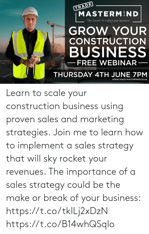 sales: Learn to scale your construction business using proven sales and marketing strategies.  Join me to learn how to implement a sales strategy that will sky rocket your revenues. The importance of a sales strategy could be the make or break of your business: https://t.co/tkILj2xDzN https://t.co/B14whQSqlo