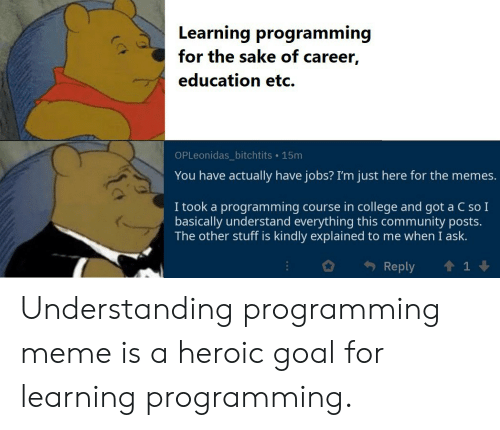 Im Just Here For The: Learning programming  for the sake of career,  education etc  OPLeonidas_bitchtits 15m  You have actually have jobs? I'm just here for the memes.  I took a programming course in college and got a C so I  basically understand everything this community posts.  The other stuff is kindly explained to me  when I ask.  Reply Understanding programming meme is a heroic goal for learning programming.
