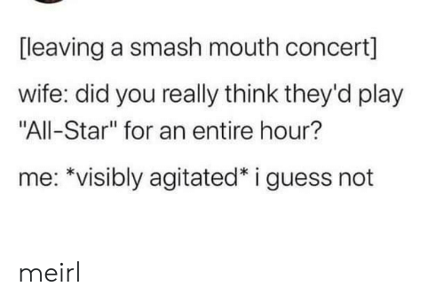 "concert: [leaving a smash mouth concert]  wife: did you really think they'd play  ""All-Star"" for an entire hour?  me: *visibly agitated* i guess not meirl"