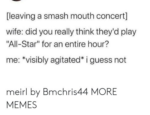 "All Star: [leaving a smash mouth concert]  wife: did you really think they'd play  ""All-Star"" for an entire hour?  me: *visibly agitated* i guess not meirl by Bmchris44 MORE MEMES"