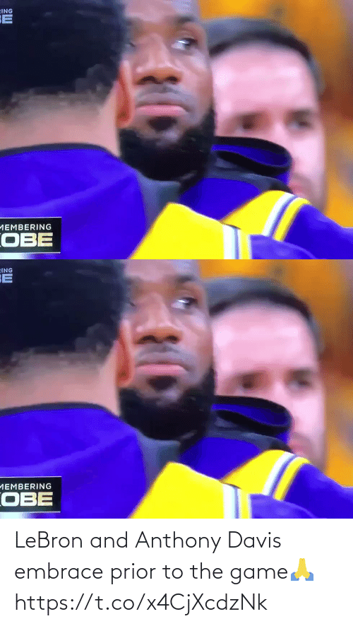 davis: LeBron and Anthony Davis embrace prior to the game🙏 https://t.co/x4CjXcdzNk