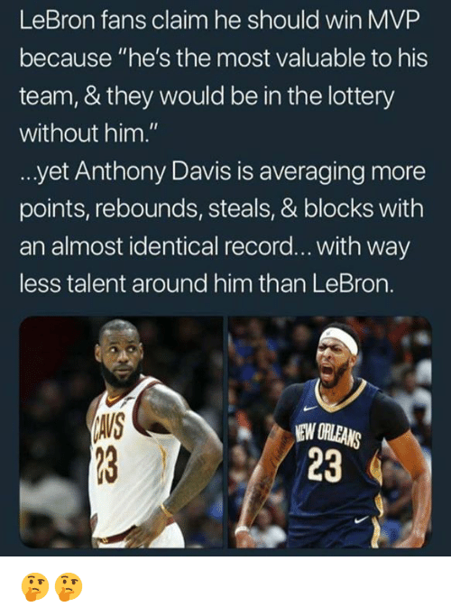 "Lottery, Anthony Davis, and Lebron: LeBron fans claim he should win MVP  because ""he's the most valuable to his  team, & they would be in the lottery  without him.""  yet Anthony Davis is averaging more  points, rebounds, steals, & blocks with  an almost identical record... with way  less talent around him than LeBron.  IAIS  EW ORLEANS  23 🤔🤔"