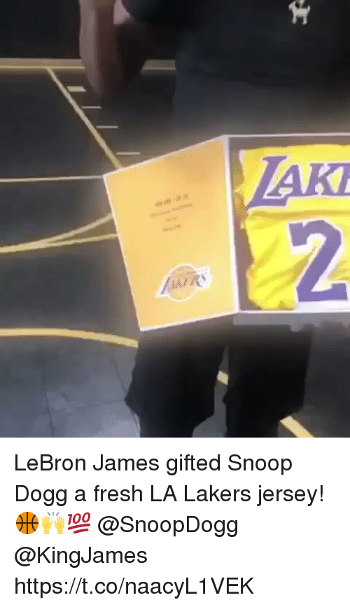Fresh, Los Angeles Lakers, and LeBron James: LeBron James gifted Snoop Dogg a fresh LA Lakers jersey! 🏀🙌💯 @SnoopDogg @KingJames https://t.co/naacyL1VEK