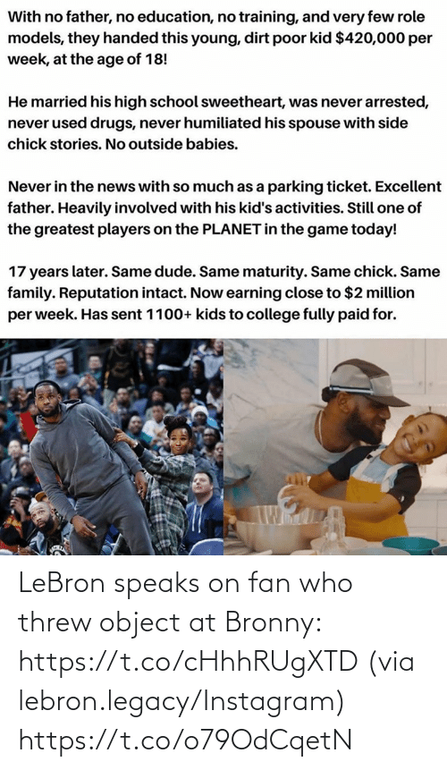 ballmemes.com: LeBron speaks on fan who threw object at Bronny: https://t.co/cHhhRUgXTD  (via lebron.legacy/Instagram) https://t.co/o79OdCqetN