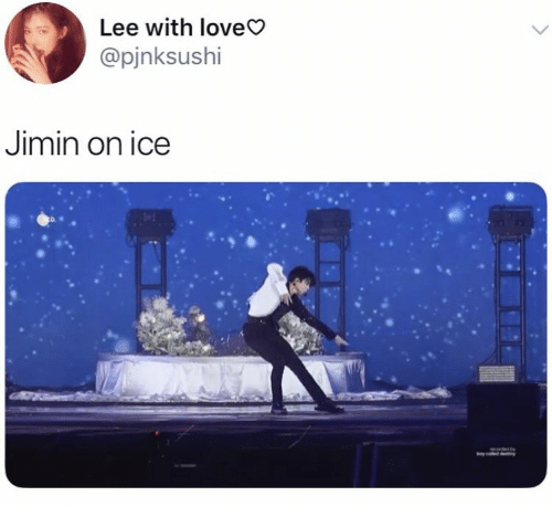 Love, Ice, and Lee: Lee with love  @pjnksushi  Jimin on ice  D.