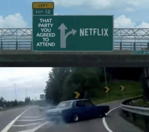 Netflix, Party, and You: LEFT  ExIT 12  THAT  PARTY  YOU  AGREED  TO  ATTEND  NETFLIX
