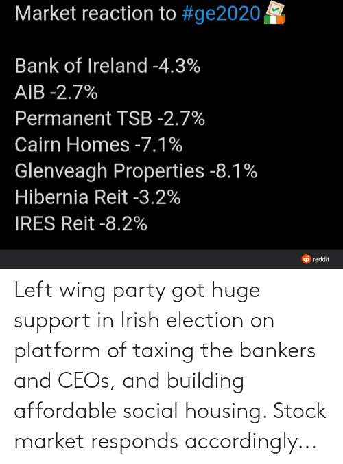 accordingly: Left wing party got huge support in Irish election on platform of taxing the bankers and CEOs, and building affordable social housing. Stock market responds accordingly...