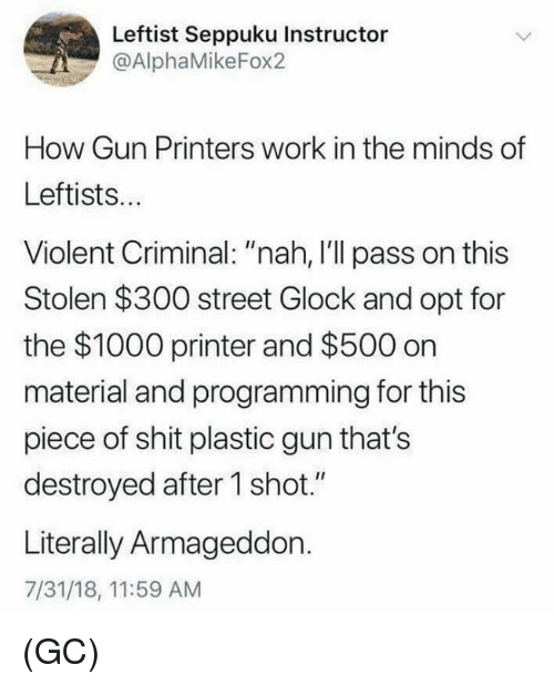 """Memes, Shit, and Work: Leftist Seppuku Instructor  @AlphaMikeFox2  How Gun Printers work in the minds of  Leftists..  Violent Criminal: """"nah, I'll pass on this  Stolen $300 street Glock and opt for  the $1000 printer and $500 on  material and programming for this  piece of shit plastic gun that's  destroyed after 1 shot.""""  Literally Armageddon.  7/31/18, 11:59 AM (GC)"""