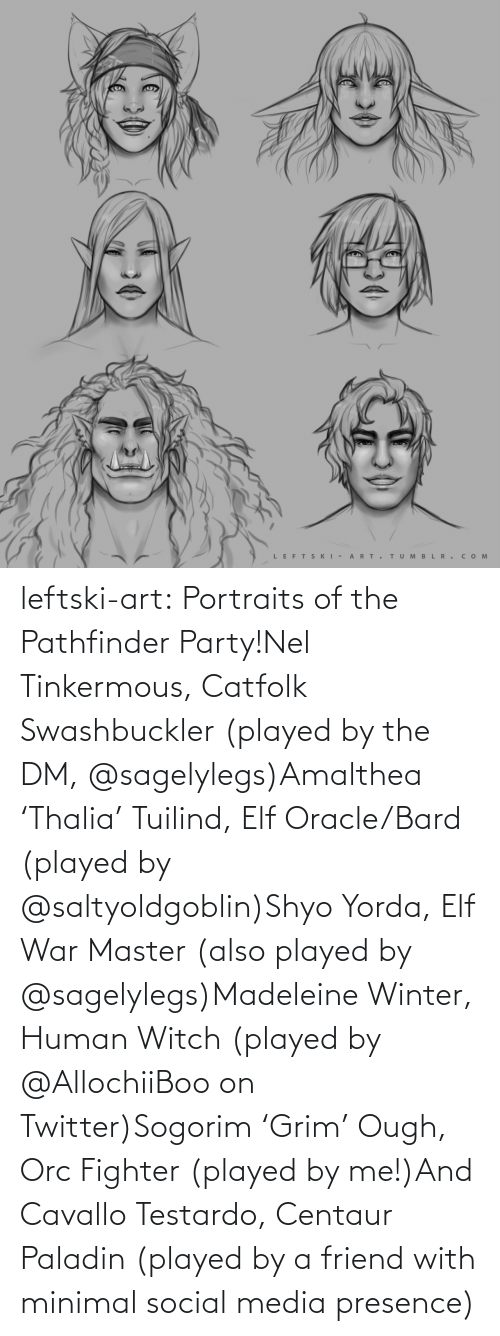 Elf: LEFTS KI - A RT.  TUM B L R . сом  >ф leftski-art:  Portraits of the Pathfinder Party!Nel Tinkermous, Catfolk Swashbuckler (played by the DM, @sagelylegs)Amalthea 'Thalia' Tuilind, Elf Oracle/Bard (played by @saltyoldgoblin)Shyo Yorda, Elf War Master (also played by @sagelylegs)Madeleine Winter, Human Witch (played by @AllochiiBoo on Twitter)Sogorim 'Grim' Ough, Orc Fighter (played by me!)And Cavallo Testardo, Centaur Paladin (played by a friend with minimal social media presence)