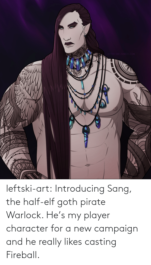 Elf: LEFTSKI-ART.TUMBLR.COM leftski-art:  Introducing Sang, the half-elf goth pirate Warlock. He's my player character for a new campaign and he really likes casting Fireball.
