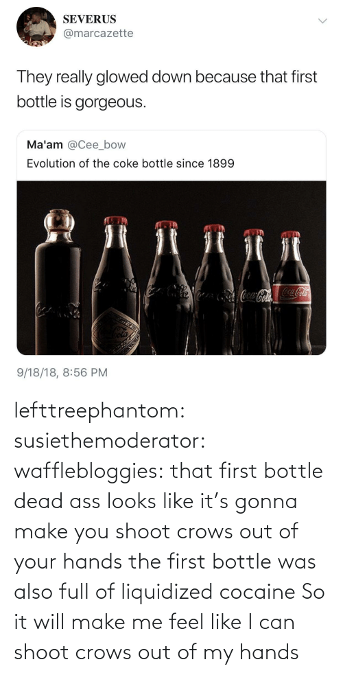 Liquidized: lefttreephantom: susiethemoderator:  wafflebloggies: that first bottle dead ass looks like it's gonna make you shoot crows out of your hands the first bottle was also full of liquidized cocaine   So it will make me feel like I can shoot crows out of my hands