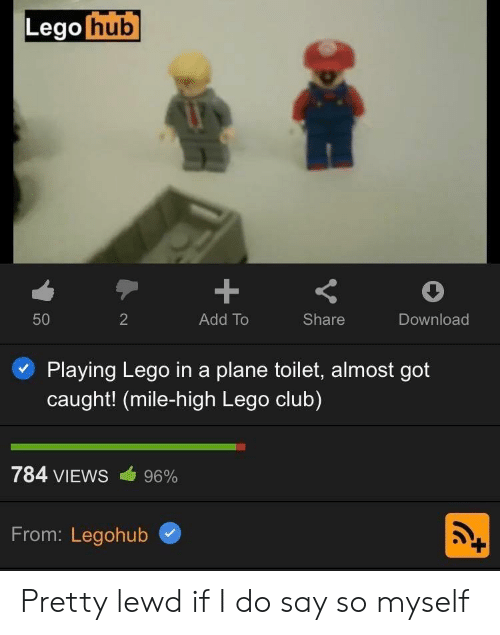 plane: Lego hub  +  50  2  Add To  Share  Download  Playing Lego ina plane toilet, almost got  caught! (mile-high Lego club)  784 VIEWS  96%  From: Legohub Pretty lewd if I do say so myself