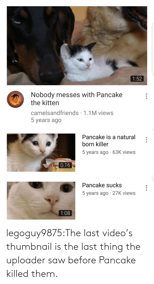 videos: legoguy9875:The last video's thumbnail is the last thing the uploader saw before Pancake killed them.