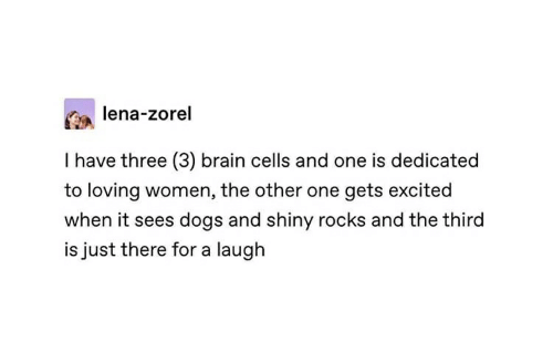Dogs, Brain, and Women: lena-zorel  I have three (3) brain cells and one is dedicated  to loving women, the other one gets excited  when it sees dogs and shiny rocks and the third  is just there for a laugh