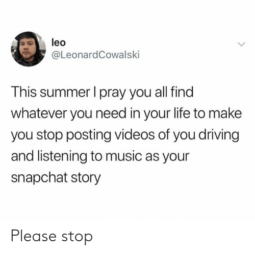 Listening To Music: leo  @LeonardCowalski  This summer I pray you all find  whatever you need in your life to make  you stop posting videos of you driving  and listening to music as your  snapchat story Please stop