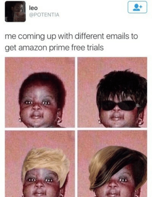 Emails: leo  @POTENTIA  me coming up with different emails to  get amazon prime free trials