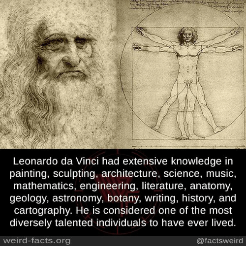 Leonardo da Vinci: Leonardo da Vinci had extensive knowledge in  painting, sculpting, architecture, science, music,  mathematics, engineering, literature, anatomy,  geology, astronomy, botany, writing, history, and  cartography. He is considered one of the most  diversely talented individuals to have ever lived.  weird-facts.org  @factsweird