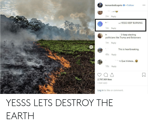 Earth, Trump, and Politicians: leonardodicaprio Follow  2m Reply  YESSS KEEP BURNING  1m Reply  3 Keep electing  politicians like Trump and Bolzonaro  1m Reply  This is heartbreaking.  49s Reply  e Que tristeza  18s Reply  2,797,169 likes  1 DAY AGO  Log in to like or comment. YESSS LETS DESTROY THE EARTH