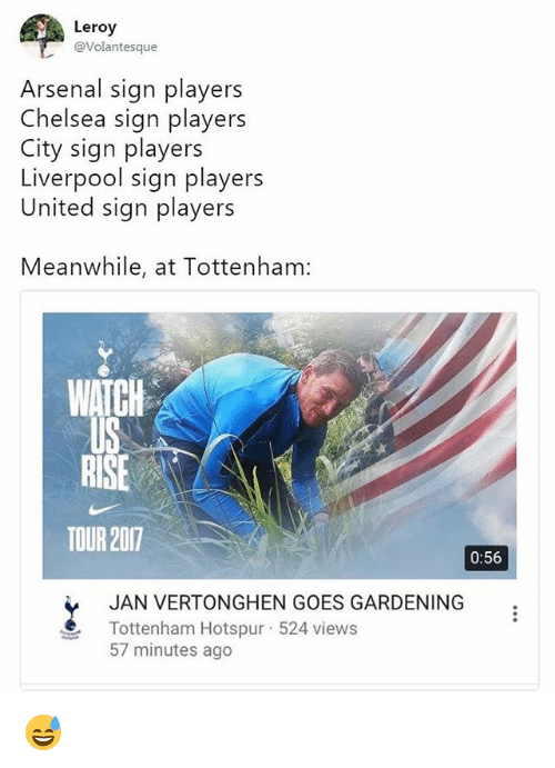 Arsenal, Chelsea, and Memes: Leroy  @Volantesque  Arsenal sign players  Chelsea sign players  City sign players  Liverpool sign players  United sign players  Meanwhile, at Tottenham:  WATGH  TOUR 2017  0:56  JAN VERTONGHEN GOES GARDENING  Tottenham Hotspur-524 views  57 minutes ago 😅