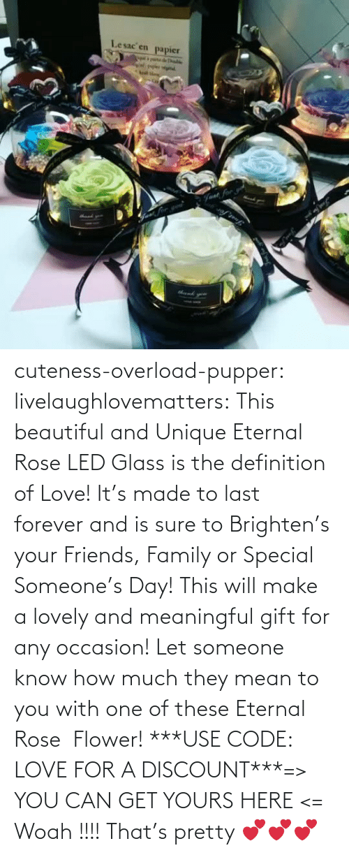 Gt: Lesac en  papier  halke  Fvat for cuteness-overload-pupper:  livelaughlovematters:  This beautiful and Unique Eternal Rose LED Glass is the definition of Love! It's made to last forever and is sure to Brighten's your Friends, Family or Special Someone's Day! This will make a lovely and meaningful gift for any occasion! Let someone know how much they mean to you with one of these Eternal Rose  Flower! ***USE CODE: LOVE FOR A DISCOUNT***=> YOU CAN GET YOURS HERE <=  Woah !!!! That's pretty 💕💕💕