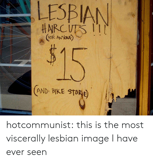Target, Tumblr, and Blog: LESBIAN  HARCUTS 1  (FOR ANYONE  $15  AND BIKE STORE hotcommunist: this is the most viscerally lesbian image I have ever seen
