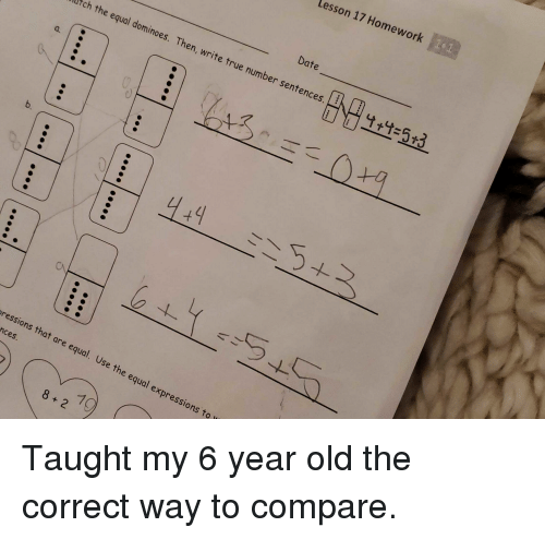 lesson 17 homework date 53 atch the equal dominoes then write true