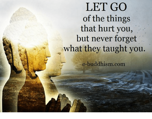 Taughting: LET GO  of the things  that hurt you,  but never forget  what they taught you  e-buddhism com