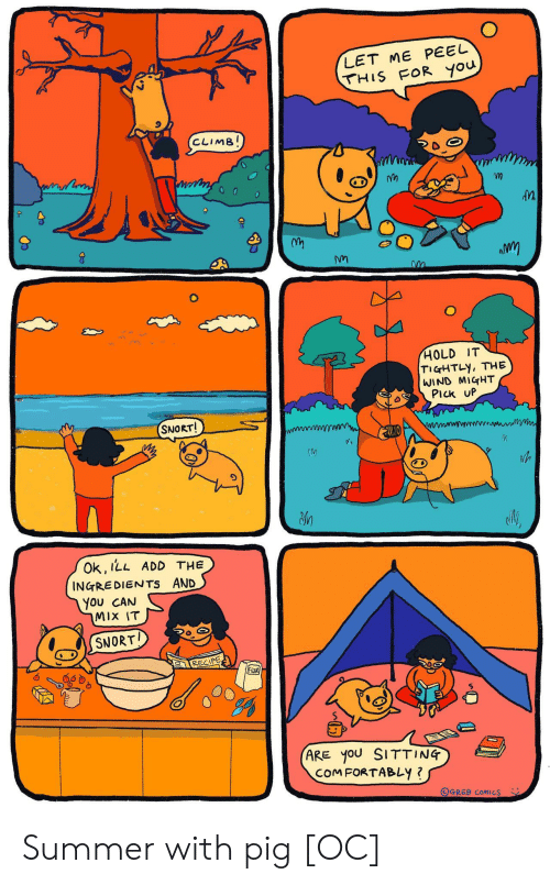 the wind: LET ME PEEL  THIS FOR you  CLIMB!  HOLD IT  TIGHTLY, THE  WIND MIGHT  PIck UP  SNORT!  Ok, ILL ADD THE  INGREDIENTS AND  You CAN  MIX IT  SNORT  RECIPE  FloOR  (ARE yoU SITTING  COMFORTABLY ?  OGREB COMICS Summer with pig [OC]