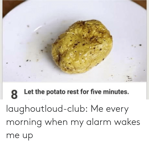 Club, Tumblr, and Alarm: Let the potato rest for five minutes  8 laughoutloud-club:  Me every morning when my alarm wakes me up