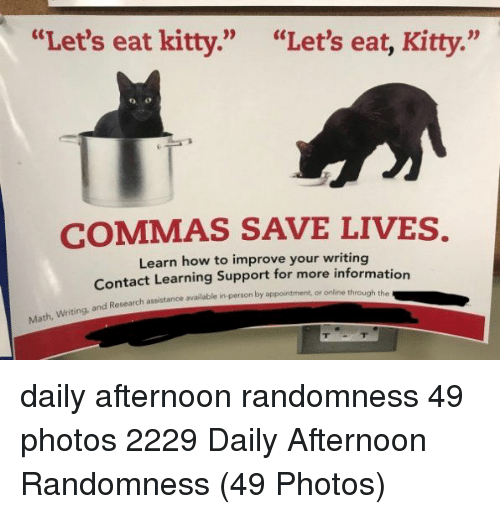 """randomness: """"Let's eat kitty.""""  """"Let's eat, Kitty.""""  COMMAS SAVE LIVES.  Learn how to improve your writing  Contact Learning Support for more informatio  Research assistance available in-person by appointment, or online through the daily afternoon randomness 49 photos 2229 Daily Afternoon Randomness (49 Photos)"""