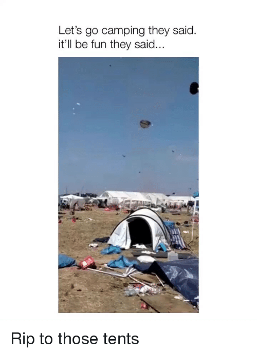 Fun, Rip, and They: Let's go camping they said.  it'll be fun they said... Rip to those tents