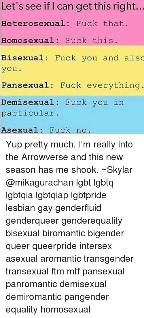 Let's See if Can Get This Right Heterosexual Fuck That Homosexual Fuck This  Bisexual Fuck You and Also You Pansexual Fuck Everything Demi Sexual Fuck  You in ...