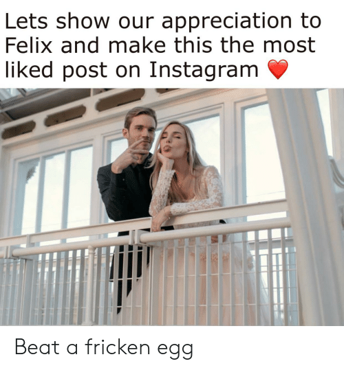 Instagram, Make, and Show: Lets show our appreciation to  Felix and make this the most  liked post on Instagram Beat a fricken egg
