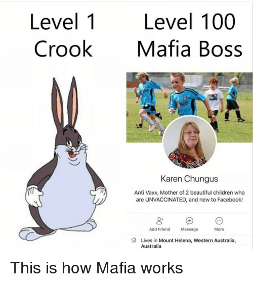 Anaconda, Beautiful, and Children: Level 1  Crook  Level 100  Mafia Boss  NDER  Karen Chungus  Anti Vaxx, Mother of 2 beautiful children who  are UNVACCINATED, and new to Facebook!  0+  Add Friend  Message  More  Lives in Mount Helena, Western Australia,  Australia This is how Mafia works