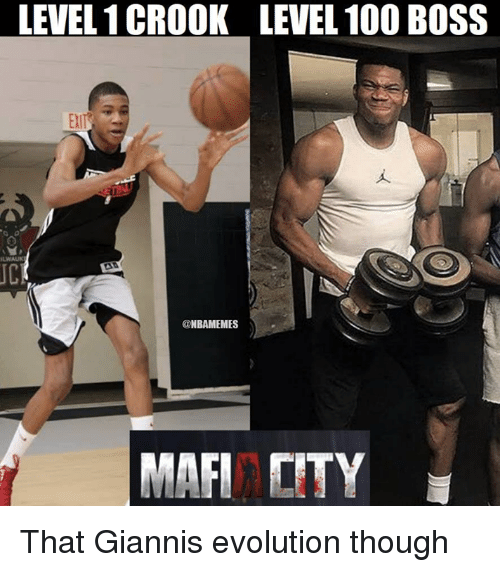 Anaconda, Nba, and Evolution: LEVEL 1 CROOK  lull  LEVEL 100 BOSS  EXl  JC  @NBAMEMES  MAFI CITY That Giannis evolution though